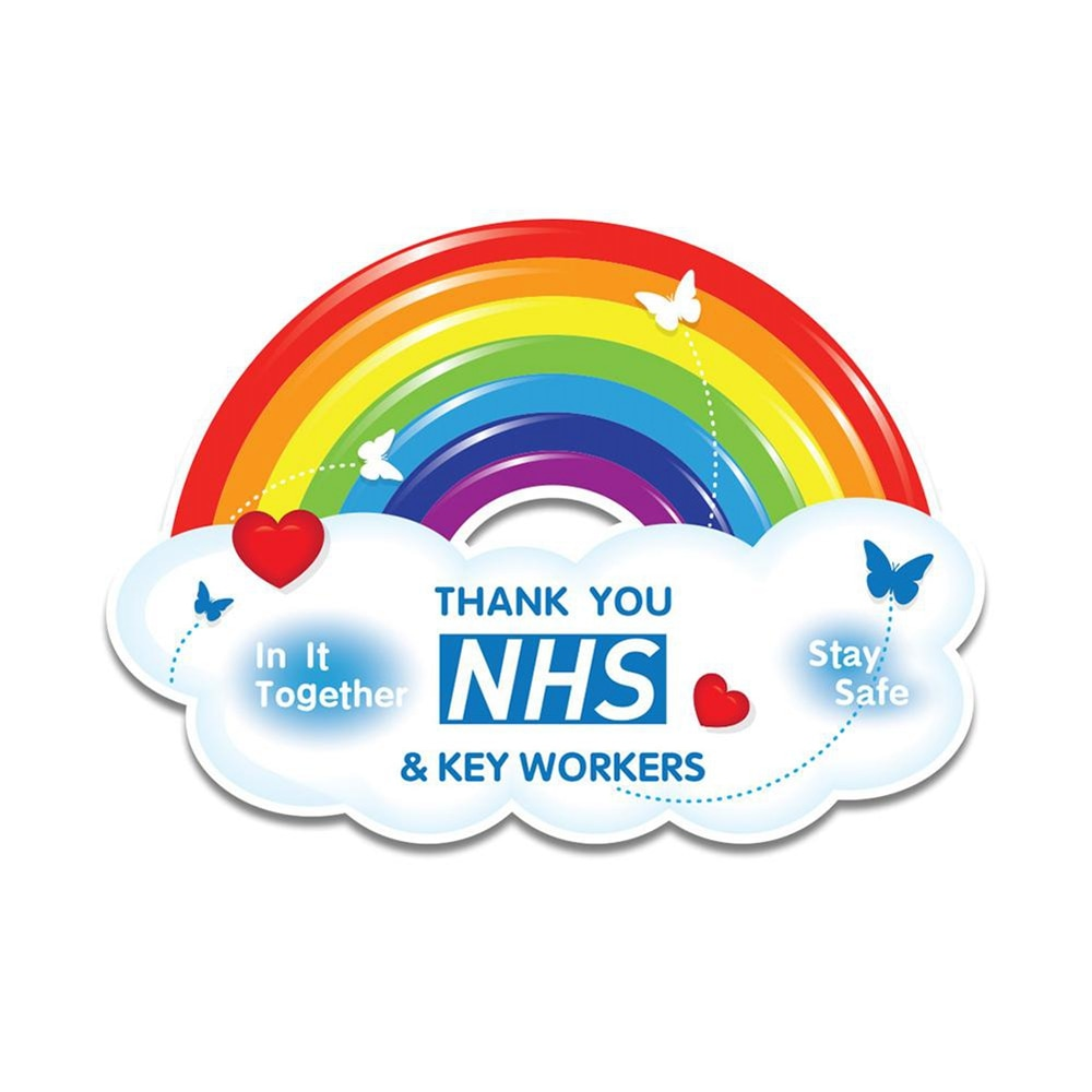 Self Adhesive Waterproof Sticker Thank You NHS Rainbow Stickers Shop Home Window Stickers Car Accessories