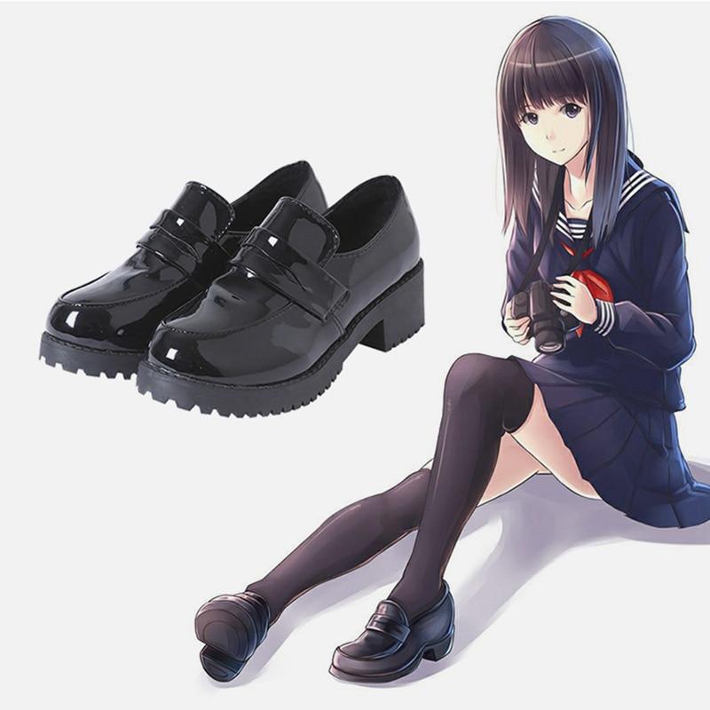 Zapatos de estudiante de secundaria japonesa niña Lolita zapatos Concha zapatos JK...