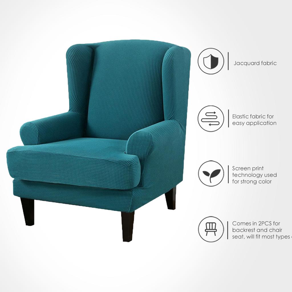 الجناح كرسي بمسند ظهر غطاء الجاكار دنة تمتد أغطية ل كراسي مكتب أنيق 2 قطعة مجموعة مع شريط مرن
