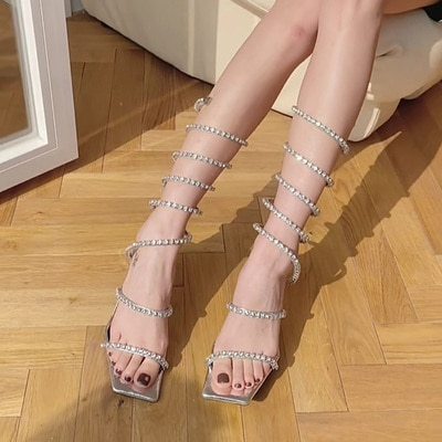 2021 European and American new summer open-toed crystal diamond women's shoes surround high-heeled women's sandals