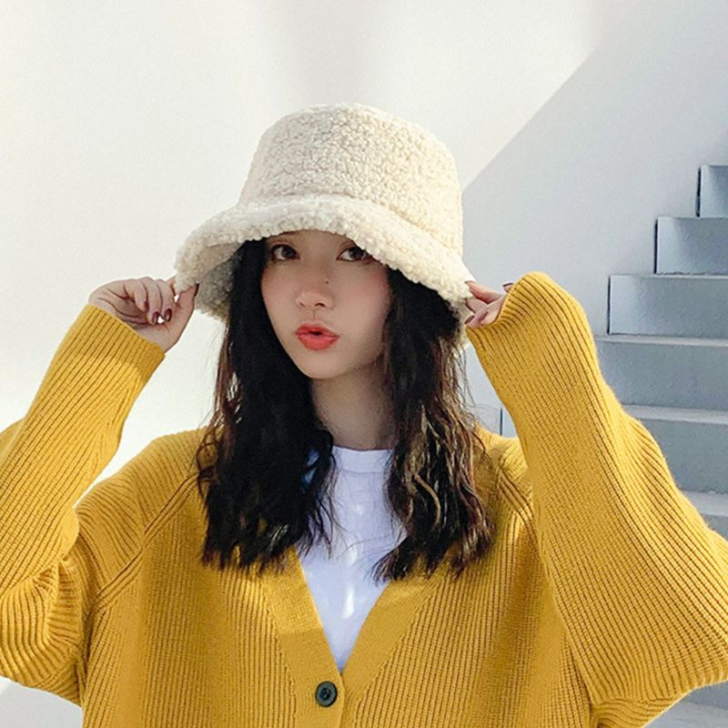 Women Winter Faux Wool Bucket Hat Solid Color Plush Warm Wide Brim Panama Cap