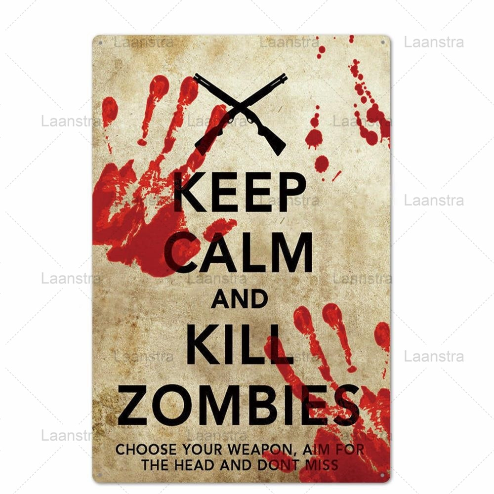 Metal Tin Sign Dark Danger Warning Zombie Signs Personalise Horror Poster Wall Art Decor For Bar Pub Club Danger Zone Iron Brand  - buy with discount