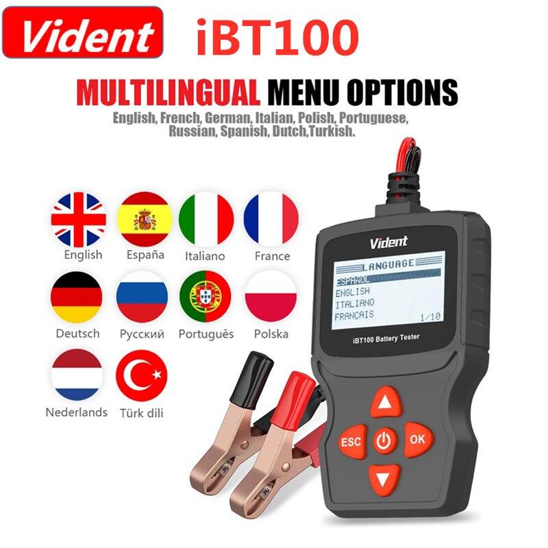 Analisador da bateria de visent ibt100 12 v para inundado, agm, verificador automotivo do gel 100-1100cca com função do teste da bateria