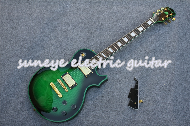 Guitarra eléctrica verde Tiger Grain, acabado brillante, fijación del borde de la...