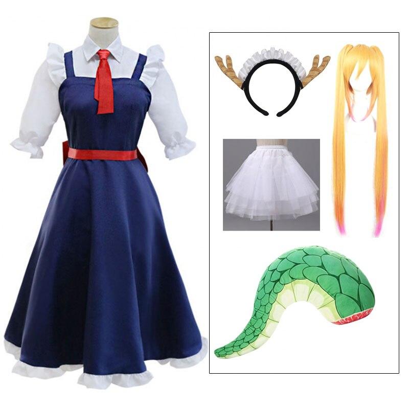 Duoupa conjuntos de peruca roupas cosplay moda meninas anime vestido miss kobayashi dragão maid kanna cosplay traje para tendência feminina