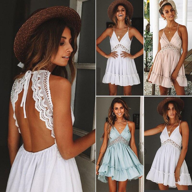 2020 Summer New Sexy Print Lace Dress Strap Deep V-Neck High Waist Beach Dresses Women Slit Backless Sexy Party Dress Women