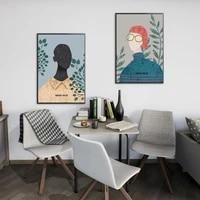 Toile avec personnage de mode moderne  Style abstrait  peinture sur toile  affiche dart imprimee murale  decoration de la maison  tableau