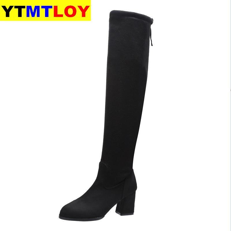 Sexy Slim Fit Elastic Flock Over The Knee Boots Women shoes 2020 Autumn Winter ladies high heel Long Thigh Size 35-40