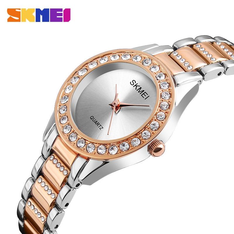 SKMEI Fashion Women Watches Luxury Stainless Steel Strap Quartz Watch Ladies 3bar Waterproof Wristwatches Relogio Feminino Gift enlarge