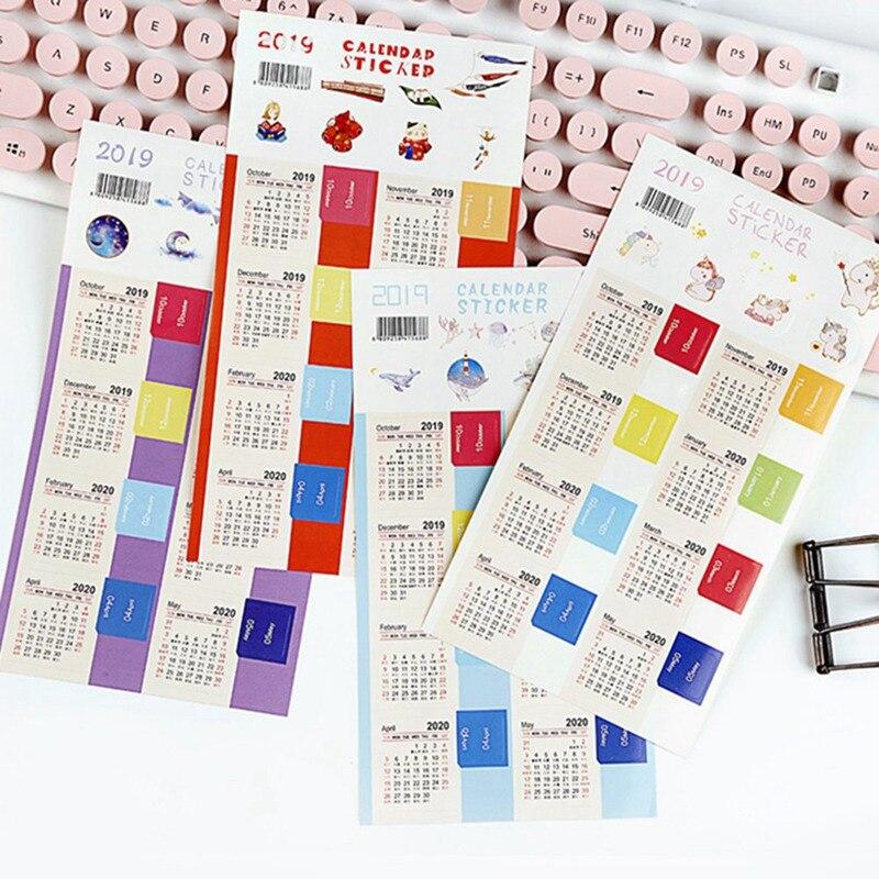 2019 nuevas pegatinas de calendario de moda para planificadores, cuadernos, revistas planificadores pestañas de índice mensual