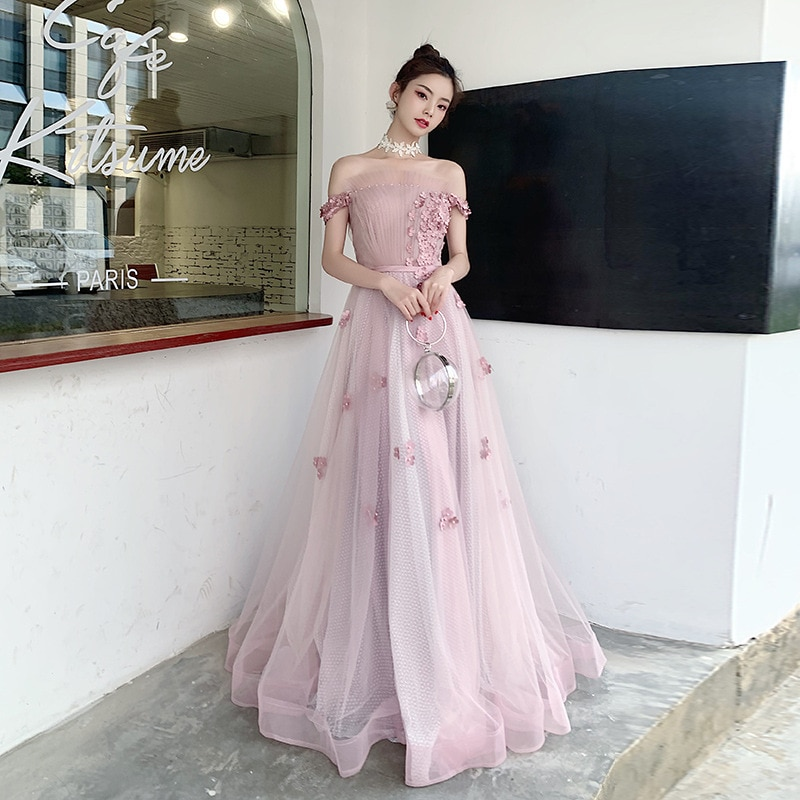 Evening Dress 2021 New Banquet Long Elegant Boat Neck Applique Party Prom Gowns Back Lacing