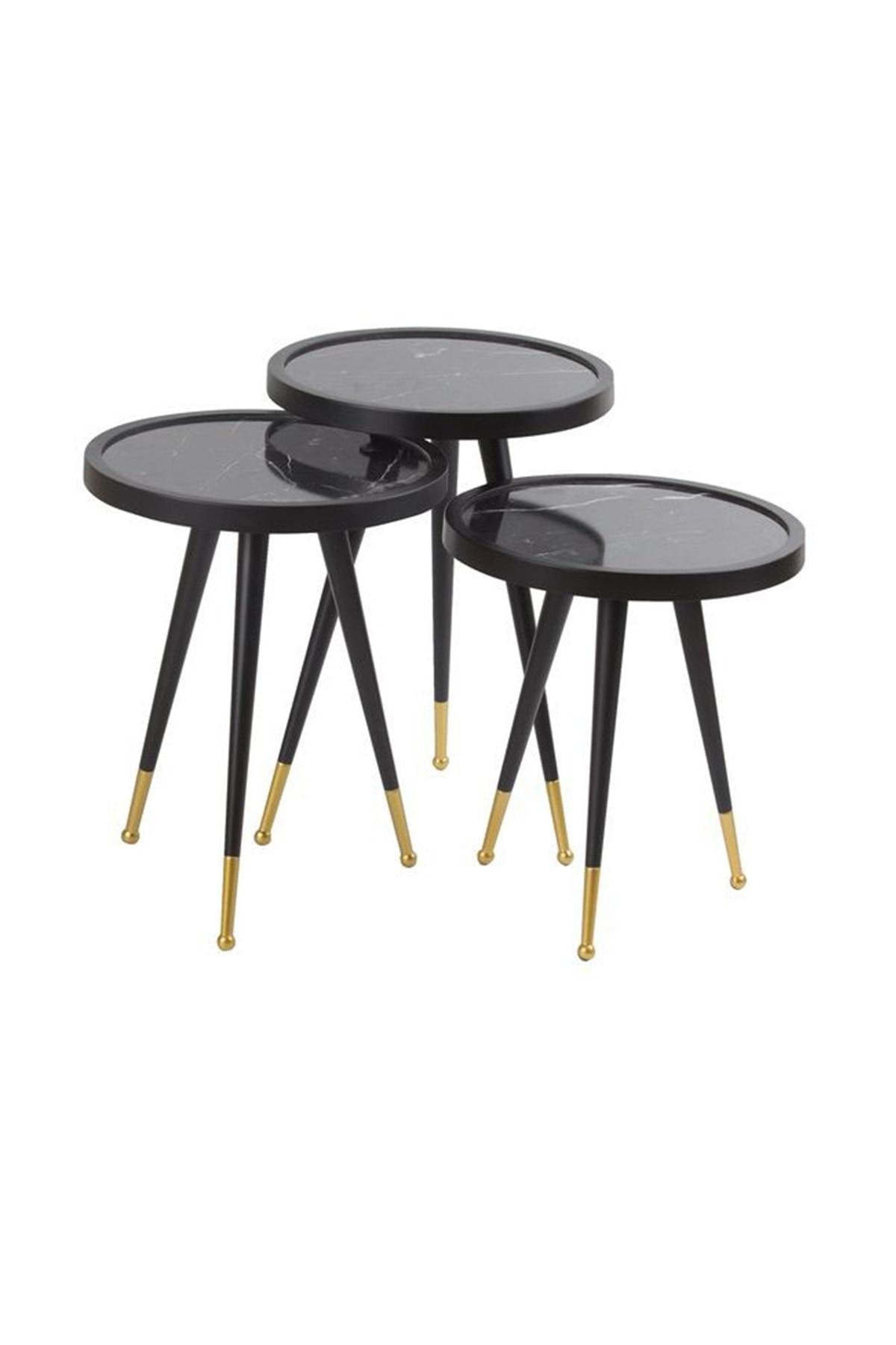Metal Pedestal 3 Pcs Zigon Coffee Table-Marble Pattern Model Looking Triple Zigon Coffee Table (black And Gold Color)