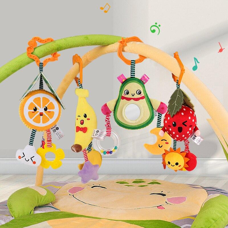 Tumama, juguetes para bebés, sonajeros colgantes, paquete de 4 frutas, sonajero, ASA, cochecito para juguetes, mordedor colgante, juguetes para bebés de 0 a 12 meses