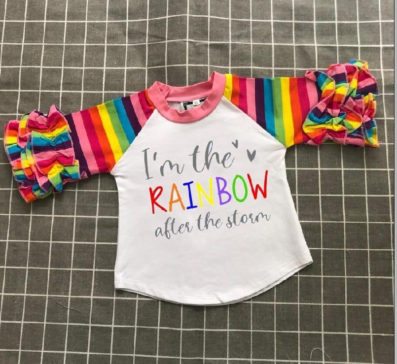 ملابس عيد الحب للفتيات الصغيرات ، ملابس قطنية ، الربيع ، الكشكشة ، الحب ، قوس قزح ، 3/4 كم ، قمصان راجلان ، بوتيك