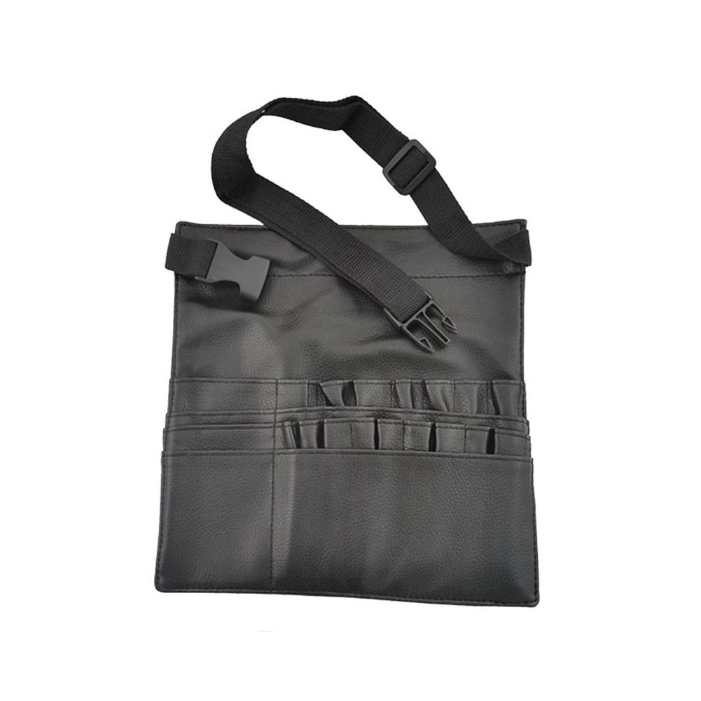 1PC PU Leder Make-Up Pinsel Taille Tasche Tragbare Kosmetik Pinsel Halter Organizer Mit Künstler Gurtband Lagerung Organizer (entfalten)