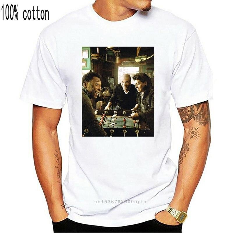 Maradona Pele Zidane Football Soccer White Crew Neck Tee T-shirt Fashion Short Sleeve Men Loose T Shirt