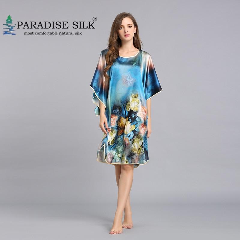 Vestido de Noite para Mulheres Vestido de Casa Seda Pura Batwing Mangas Chemise v Decote Tamanho m l xl 100%