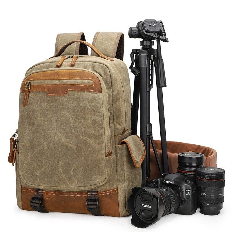 YUPINXUAN дропшиппинг Водонепроницаемые DSLR рюкзаки холщовые кожаные рюкзаки для камеры винтажные дорожные рюкзаки многофункциональные Mochila
