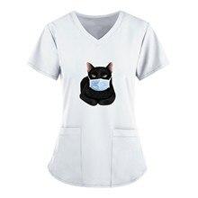 Black Cat Print Nursing Scrubs Tops Women T Shirt Casual Short Sleeve Scrubs Uniforms Nurse V-neck P