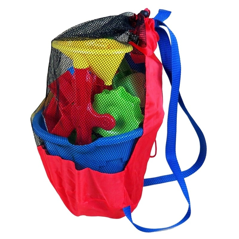 Portable Kids Toys Storage Bag Nylon Mesh Clear Backpack Beach Toys Supplies Mesh Bag Lightweight Outdoor Accessories Backpack