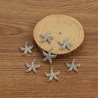 10pcs antique silver color 21x21mm starfish charms pendant for diy jewelry necklace earrings making