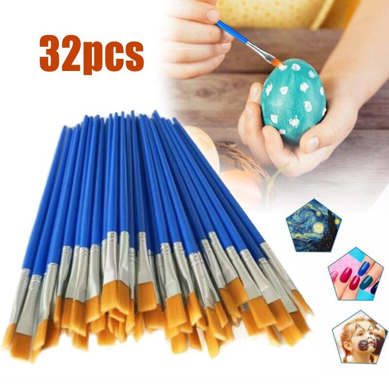 32pcs/set Paint Brushes Flat Brushes Nylon Hair Painting Brush Set Art Supplies for Beginners Professionals School Supply