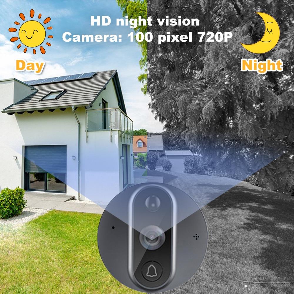 Smart WiFi 720P Video Doorbell Peephole Camera Viewer Home Security PIR Motion Detection HD Night Vision Tuya APP Remote Control enlarge