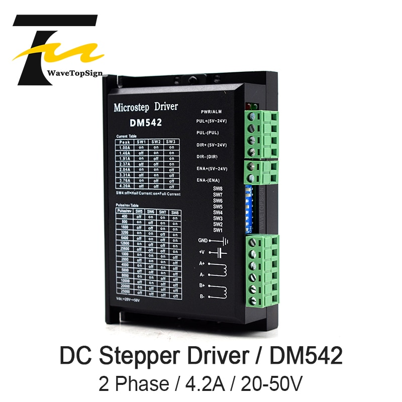 Controlador de Motor paso a paso WaveTopSign DM542, voltaje 20-50VDC, corriente 1,0-4.2A para Motor paso a Digital de 2 fases serie 57 86