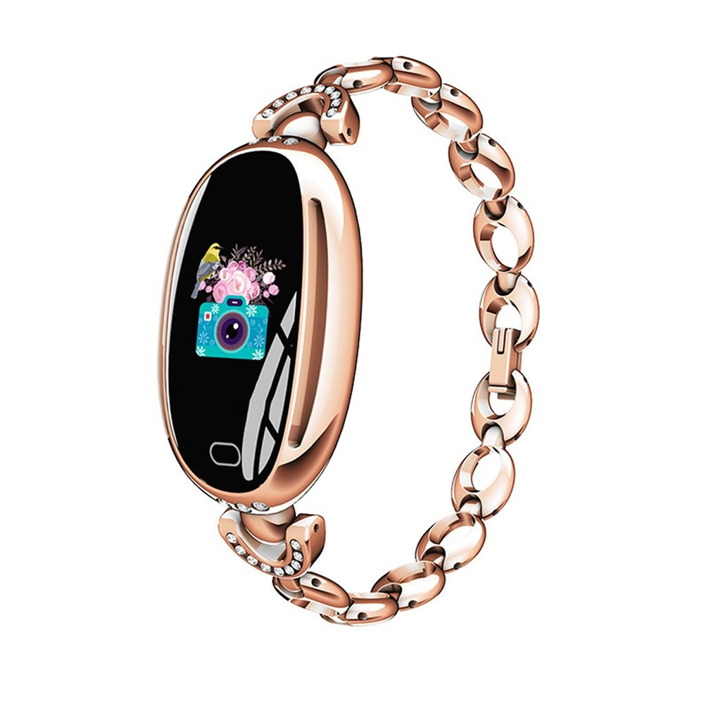 The Charm With Fashion Versatile Cream Design With Diamonds Highlight The Metal Flash The Eye E68 Smart Sports Bracelet