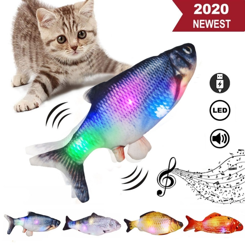 30CM Glowing Electronic Pet Cat Toy USB Charging Electric Simulation Fish Toys for Dog Chewing Playing Supplies Dropshiping