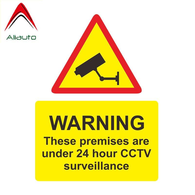 Aliauto pegatina de advertencia para coche estas instalaciones protegidas 24 horas CCTV vigilancia calcomanía accesorios PVC para Jdm VW Polo, 17cm * 13cm