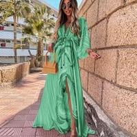 2021 summer sexy slim split hem maxi dress elegant elastic waist button beach long dress women fashion print deep v boho dresses