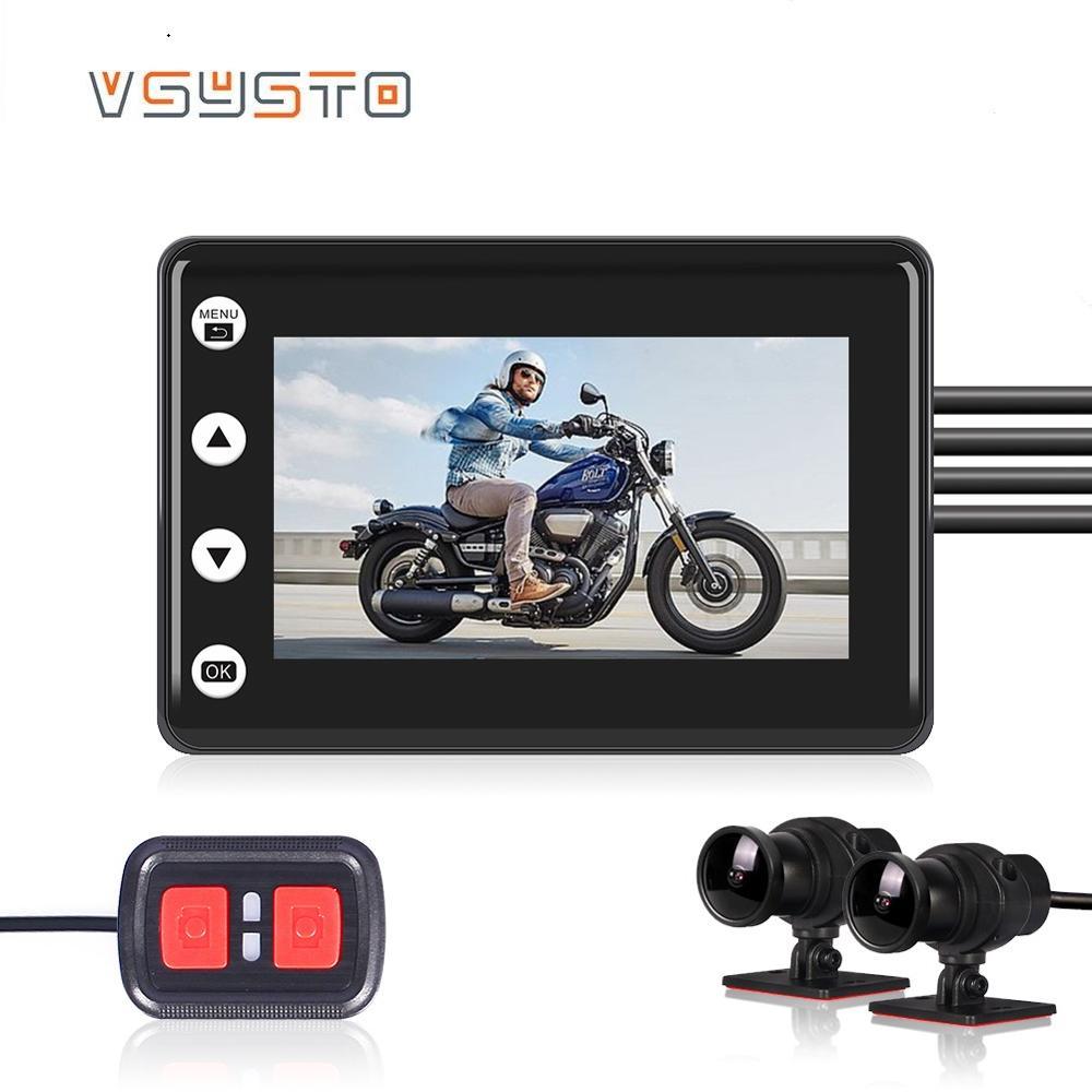 Videocámara de visión nocturna VSYSTO de 3,0 pulgadas para motocicleta DVR Dual 1080P con soporte gratuito