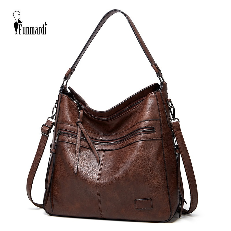FUNMARDI Winter Vintage PU Leather Handbag tassel 2021 Women Bag Female Hand Bag Luxury Totes Bag Fashion Shoulder Bag WLHB2189