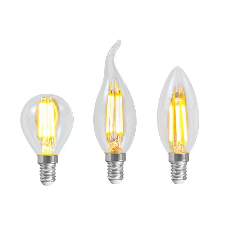 5 шт./лот светодиодная нить E14 C35 с/без хвоста G45 2 Вт/4 Вт/6 Вт 220 в теплый белый свет лампа Эдисона для домашнего освещения большой запас