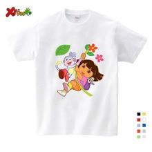 T-shirt enfants blanc et confortable   Vêtements dété en pur coton, pour filles/garçons/Babys/enfants, 2019