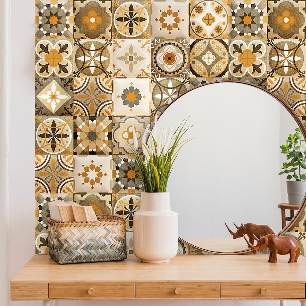 Bunte Türkische Vintage Keramik Fliesen Wand Aufkleber Küche Wand Hintergrund Dekoration Tapete Wohnkultur PVC Art Wall Decals