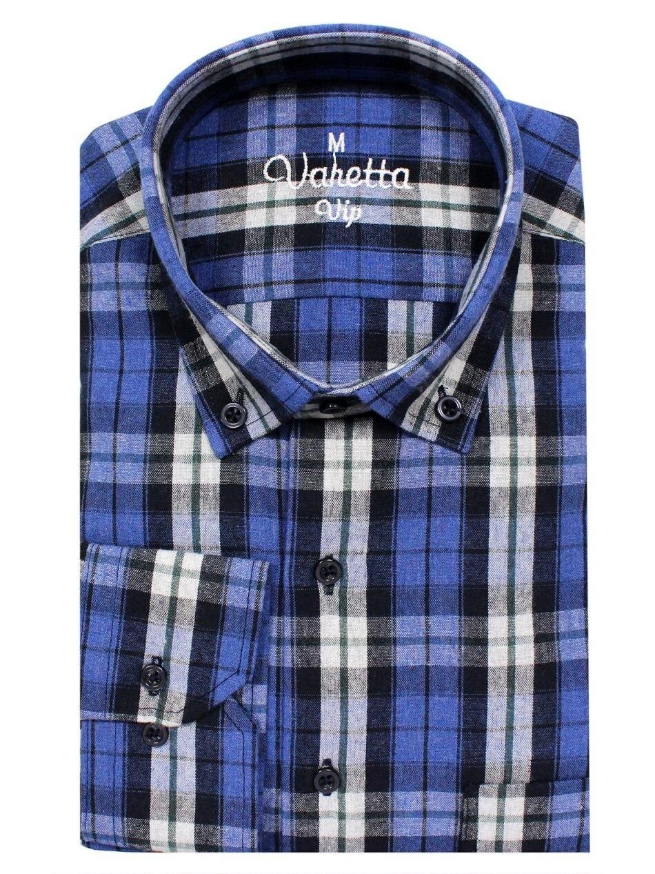 Мужская Фланелевая рубашка в клетку, мужская рубашка с длинным рукавом, синяя рубашка, Повседневная хлопковая шерстяная рубашка для мужчин,...