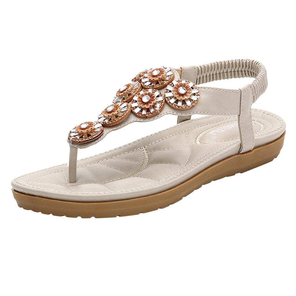 Sagace, sandalias para mujer, sandalias de verano para mujer, banda elástica con pedrería, suela plana, bohemias, zapatos de estilo romano, sandalias informales