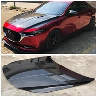 high quality carbon fiber clear glass front bumper engine hood vent cover fits for mazda3 axela 2020 2021 2022