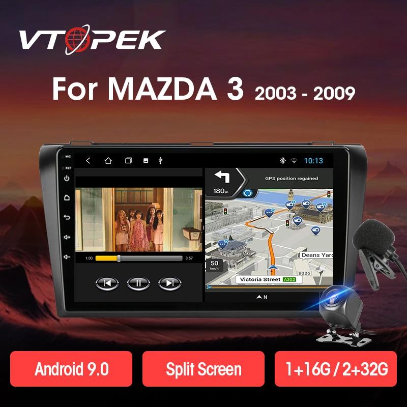 "Vtopek 9 ""2 din 4g + wifi android 8.1 rádio do carro multimídia player navegação estéreo automático gps para mazda 3 2004-2009 dsp unidade principal"