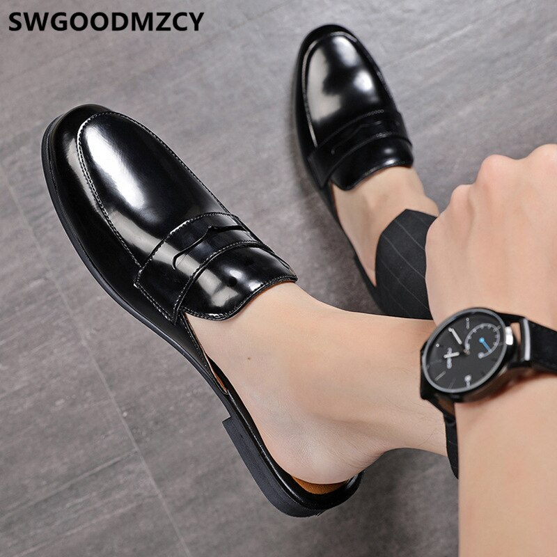 Leather Shoes Men Coiffeur Half Shoes For Men Italian Brand Men Half Shoes Mule Masculino Zapatos De Hombre Casuales Cuero Buty