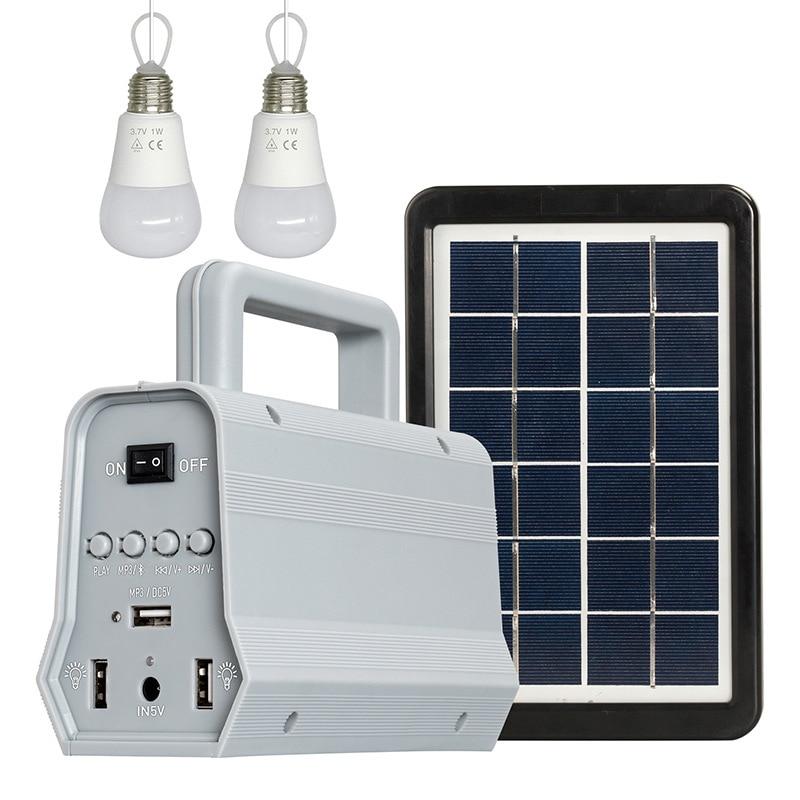 Kit de generador de Panel de energía Solar LED, Altavoz Bluetooth, Cargador USB, sistema doméstico + 2 bombillas LED, iluminación exterior, carga de Smartphone