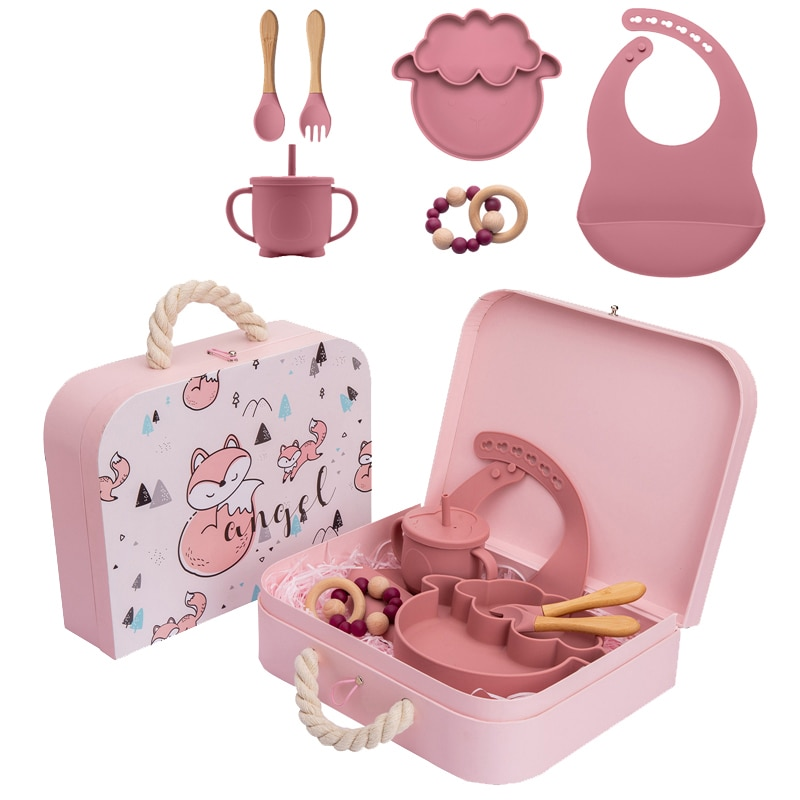 Baby Feeding Plate Set Sheep Silicone Shaped Tableware Sets with Exquisite Box Food Grade Learning Plate for Baby Birth Gifts