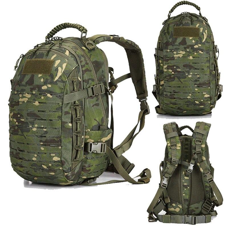 Mochila militar táctica, senderismo, bolsa de caza al aire libre, EDC, engranajes tácticos, corte láser, Molle PALS, bolsa Multicam, 25L, bolsa deportiva para Camping