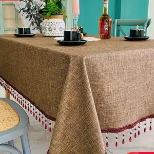 Imitation Linen Leather Coffee Tablecloth Waterproof Anti-oil Wash-free European Luxury Rectangular High-end Tablecloth