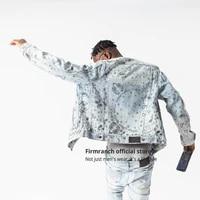 firmranch new high qualtiy paisley print jacket light blue denim coat high street fashion chaqueta for menwomen jean outerwear