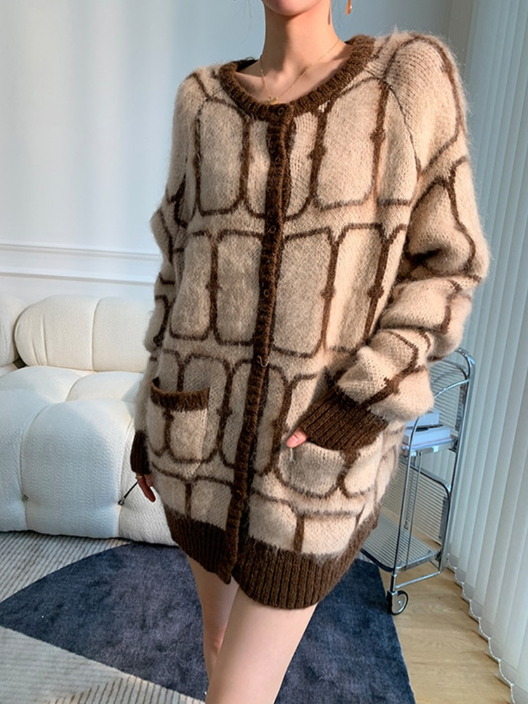 Womens Mid-Length Knitted Cardigan Sweater Long-Sleeve Crew Neck Office Lady Contrast Color Single-Breasted Loose Sweater Coat enlarge