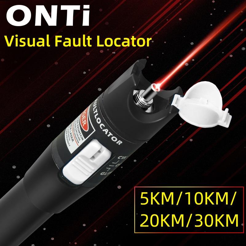 ONTi 10mW Visual Fault Locator Fiber Optic Cable Tester 30mw Red Laser Light 5-30KM Pen Type Visual Fault Locator SC/FC/ST