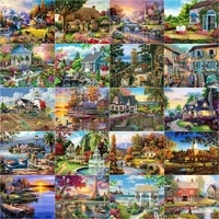 chenistory 5d diamond painting full drill square houses landscape diamond embroidery cross stitch spring mosaic decortion